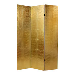 Oriental Unlimted - 3-Panel Faux Leather Gold Crocodile Room Divi - Lightweight and extra tough. Provides complete privacy. Absorbing sound slightly. Beautiful shiny gold, medium gauge faux crocodile skin textured vinyl. Upholstered to kiln dried, solid and sturdy Spruce wood panel frames. 15.75 in. W x 70.88 in. H (8.25 lbs.)