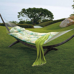 Tufted Hammock, Spring Fronds Jade - Generously cushioned like a pillow-top mattress, this hammock just might make me want to give up my bed.