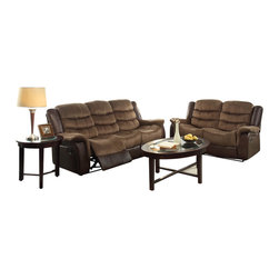 Homelegance - Homelegance Bunnell 2 Piece Living Room Set in Microfiber w/ Dark Brown Bi-Cast - Fitting in with your transitional home is the Bunnell Collection. Offered in a brown textured plush microfiber with dark brown bi-cast vinyl, this comfortable reclining seating group extends with an easy release mechanism for your ultimate convenience and relaxation.