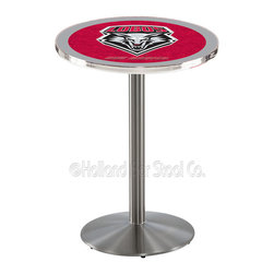 Holland Bar Stool - Holland Bar Stool L214 - Stainless Steel New Mexico Pub Table - L214 - Stainless Steel New Mexico Pub Table belongs to College Collection by Holland Bar Stool Made for the ultimate sports fan, impress your buddies with this knockout from Holland Bar Stool. This L214 New Mexico table with round base provides a commercial quality piece to for your Man Cave. You can't find a higher quality logo table on the market. The plating grade steel used to build the frame ensures it will withstand the abuse of the rowdiest of friends for years to come. The structure is 304 Stainless to ensure a rich, sleek, long lasting finish. If you're finishing your bar or game room, do it right with a table from Holland Bar Stool. Pub Table (1)