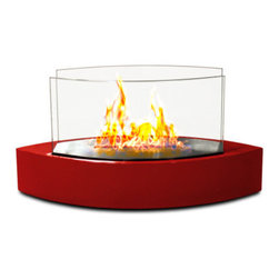 Anywhere Fireplace - Lexington Tabletop Ventless Bio Ethanol Fireplace, Red - Forget about candles and other table top accents to add ambiance. The Lexington model Anywhere Fireplace brings you all the tabletop elegance you are looking for with its distinctive shape, high gloss finish and its real flames. Enjoy the ambiance of a real fire but without the hassle of smoke, melting wax, soot, ash, smell, etc. Use it on the dinner table or a coffee table. The possibilities are endless with the Lexington from Anywhere Fireplace. It will suit any decor and enhance any dinner party. Makes a great gift too.