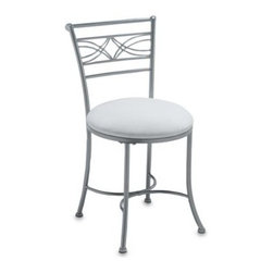 Hillsdale Furniture, Llc - Hillsdale Dutton Vanity Stool - A white fabric seat contrasts beautifully with the powder coat chrome-look finish for a style that complements virtually any decor. This vanity stool is a great addition to your dressing area and is ideal for use in the bathroom.