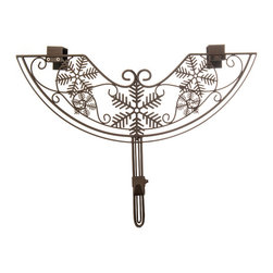 Village Lighting - Snowflake Adjustable Wreath Hanger - Have a beautiful wreath and want to showcase it against your door? Why not add an elegant and festive wreath hanger. The unique double top hanging bracket design offers extra strength and a stunning unique design. The hanger is also adjustable to suit your door style: whether your door has a window or decorative molding on the front or just recessed decorative trim, the adjustable wreath hanger is the perfect solution. Each hanger is designed to hold your treasured wreath without causing damage to your door. The classic design is scrolled in sturdy, durable iron and will hold up for years to come. A perfect companion to the Garland Hanger!