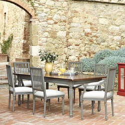 Ballard Designs - Sorrento Rectangular Dining Table with Walnut Top - Crafted in Italy of solid hardwood & fine veneers. Ball-bearing extension slides. self storing leaves. With its classical details and Tuscan-inspired finish, Sorrento exudes warmth and creates an inviting setting ripe for full-scale entertaining. Add the two self-storing leaves and the slender top expands to seat 10 with enough room for platters. Traditional detailing includes a deep apron with fluted legs and carved florettes on corner blocks. Walnut stained top with painted base creates a striking contrast. Part of our exclusive Casa Florentina collection, it's available in your choice of several hand-applied finishes. Skilled Italian artisans apply your custom finish in layers, distressing each one by hand using the same simple tools and techniques employed by Florentine artists for centuries. Sorrento Rectangular Dining Table features: .  . .