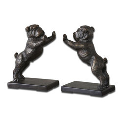 Bulldogs Cast Iron Bookends - Set/2 - *These Adorable Bookends Are Made Of Cast Iron And Finished In Heavily, Distressed Golden Bronze With A Dark Gray Glaze
