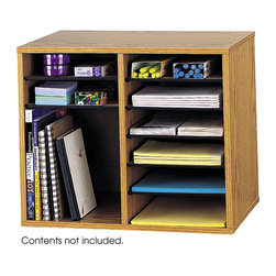 """Safco - Wood Adjustable Literature Organizer - 12 Compartment - Oak - Be versatile! The design of the adjustable organizer is perfect for desktop storage of letter-sized materials. Shelves are adjustable or removable to customize individual compartment size. Includes 10 hardboard shelves that form up to 12 letter-size compartments. Constructed of compressed wood with laminate finish and solid fiberboard back.; Features: Material: Solid Fiberboard (back), Hardboard (shelves), Furniture Grade Particleboard; Color: Oak; Finished Product Weight: 19 lbs.; Assembly Required: Yes; Tools Required: Yes; Limited Lifetime Warranty; Dimensions: 19 1/2""""W x 12""""D x 16""""H"""