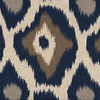 """Close to Custom Linens - 72"""" Shower Curtain, Unlined, Adrian Indigo Blue Taupe Beige Geometric - Adrian is a contemporary medium scale geometric in blues and taupe on a neutral beige linen-textured background. Reinforced button holes for 12 curtain rings."""