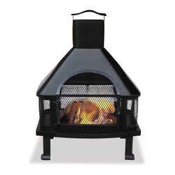 Uniflame Black Firehouse - The traditional design of the Uniflame Black Firehouse will wow your guests. -Mantels Direct