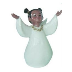 CG - 3.375 Inch Ceramic African American Girl Statue with White Gown - This gorgeous 3.375 Inch Ceramic African American Girl Statue with White Gown  has the finest details and highest quality you will find anywhere! 3.375 Inch Ceramic African American Girl Statue with White Gown  is truly remarkable.