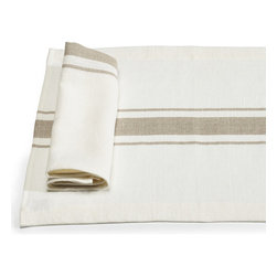 Libeco - Kalahari Place Mats  (set of four) - Named after the Kalahari Desert in Southern Africa.  The fabric is rustic, pure linen with a slightly vintage feel about it.  With a central flax stripe on an oyster background, this collection is simple, elegant and timeless.  The Kalahari collection includes napkins, place mats, tablerunners, tea towels and aprons.  Set of four.