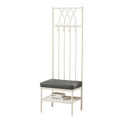 Monarch - Hammered Metal 72in.H Hall Entry Bench, White - If features and functionality is what you are looking for, look no further. Here is a fashionibable hallway entry bench with a storage shelf and 4 coat hooks for ample storage. A thick padded grey cushion seat creates a comfortable place to rest and put on your shoes before the start of your busy day.