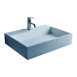 ADM - ADM Matte White Wall Hung Stone Resin Sink - DW-158