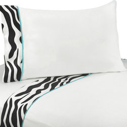 Sweet Jojo Designs - Sweet JoJo Designs 200 Thread Count Turquoise Funky Zebra Bedding Collection She - Make your bed a little wild with the zebra-print bedding set by Sweet JoJo Designs. Available in twin and queen sizes,this zebra print trim and turquoise piping set is designed to coordinate with other bedroom linens of the same design.