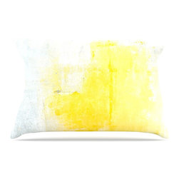 "Kess InHouse - CarolLynn Tice ""Stability"" Yellow White Pillow Case, Standard (30"" x 20"") - This pillowcase, is just as bunny soft as the Kess InHouse duvet. It's made of microfiber velvety fleece. This machine washable fleece pillow case is the perfect accent to any duvet. Be your Bed's Curator."