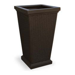 "Mayne Inc. - Wellington Tall Planter Espresso - Enjoy the look of wicker without the risk of weather damage with our new Wellington Tall Planter! Beautiful wicker design adds a charming touch to any patio or deck. Our molded plastic planters are made from high-grade polyethylene with built in UV inhibitors. Dimensions 16"" x 16"" x 28"", opening dimension is 11.75"" x 11.75"". Approximately 16 gallon soil capacity."