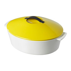 Revol - Revol Revolution Line Oval Cocotte with Lid, Seychelles Yellow - Free range cooking: You're free to use this revolutionary new cocotte on virtually any heat source, including stovetop gas, ceramic, glass, electric, halogen and induction … and of course, any kind of oven. All of which greatly expands your sphere of culinary potential.