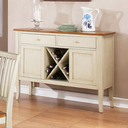 """Steve Silver Furniture - Steve Silver Candice Server w/ Wine Storage in Oak & White - The Candice Collection offers country-style simplicity  transforming any dining area into a charming sanctuary.  The white and oak Candice server has two spacious drawers for storing linens and tableware  two cabinets  wine storage  and a 48""""L x 17""""D serving surface.  This is the perfect piece to complete the Candice counter height dining set."""