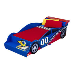Kidkraft - KidKraft Racecar Toddler Bed - Kidkraft - Kids Beds - 76040 - Your child will love falling asleep every night on their Racecar Toddler Bed from KidKraft. Built low enough to the ground for easy access for kids with bed rails to keep them safe and including a bench at the foot of the bed for extra storage space. With race car artwork your child will be able to immerse themselves in the exciting world of race cars while transitioning easily from a crib to bed.