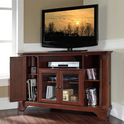 Crosley Furniture - LaFayette 48 in. Wood Corner TV Stand w Brack - LaFayette Collection. Vintage Mahogany finish. 3 Adjustable shelves. 4 Beautiful raised panel doors. Accommodates most 52 in. TVs. Solid hardwood and veneer construction. Hand rubbed multi-step finish. Tempered beveled glass doors. Wire management. Adjustable levelers in legs. Hardware design:. Brushed Nickel hardware for Black finish. Antique Brass hardware for Classic Cherry finish and Vintage Mahogany finish. Assembly required. 1-Year manufacturer's warranty. 47.75 in. W x 18 in. D x 30 in. H (98 lbs.)