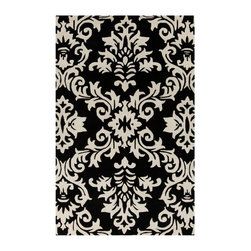 Surya - Surya Goa Antique White/Coal Black Area Rug - G5129-23 - Shop for Rugs and Runners from Hayneedle.com! A large scale damask pattern gives the Surya Goa Antique White/Coal Black Area Rug a distinctive look. The perfect style foundation for your favorite room the damask pattern of this rug comes in your choice of a variety of color options. It's hand-tufted of 100% New Zealand wool for a soft hand and has a heavy-duty canvas backing. Comes in your choice of available size options. About Surya RugsSince 1976 Surya has established itself as one of India's leading producers of fine hand-knotted hand-tufted and flat-woven rugs. Their products are sold in the U.S.A. at respected department and specialty stores. The company is known for its quality value dedication and innovation. This includes responsibility for the entire process - spinning dyeing weaving and finishing. Surya prides itself on using the best raw material available for the production of their rugs. They are proud members of Wools of New Zealand. From design concept through production a Surya family member is involved making sure that the highest standards are being met at each level. Surya works with top designers and constantly updates their designs and color palettes to match and set the trends in design and fashion for the home. Surya always means a fine choice in rugs.