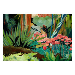 'Huntington Cactus Garden' Framed Oil Painting - Garden party. This original piece of artwork by Valerie Trimachi will add a bold shot of color to your interiors. The contemporary oil painting is perfectly suited to today's modern home.