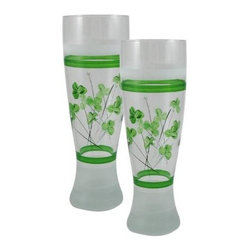 Golden Hill Studio - Shamrock Pilsner Glass, Set of 2 - WC444005 - This lovely hand painted pilsner glass is just perfect for St Patrick's day beer!  It also can be used as a vase.  Proudly Hand Painted in the USA by American Artists!
