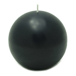 """Jeco - 4"""" Black Ball Candles - 2pc/Box"""" - """"Large 4 inch Ball candles have been around for a while but often unnoticed. Spruce up your room room with these ball candles and enjoy the dimensions it creates. These unscented sphere candles burn exceptionally long and have solid color all the way through."""