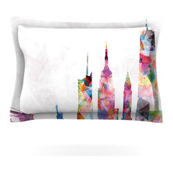 "Kess InHouse - Mareike Boehmer ""New York"" Rainbow City Pillow Sham (Cotton, 30"" x 20"") - Pairing your already chic duvet cover with playful pillow shams is the perfect way to tie your bedroom together. There are endless possibilities to feed your artistic palette with these imaginative pillow shams. It will looks so elegant you won't want ruin the masterpiece you have created when you go to bed. Not only are these pillow shams nice to look at they are also made from a high quality cotton blend. They are so soft that they will elevate your sleep up to level that is beyond Cloud 9. We always print our goods with the highest quality printing process in order to maintain the integrity of the art that you are adeptly displaying. This means that you won't have to worry about your art fading or your sham loosing it's freshness."
