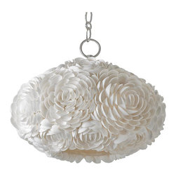 Kathy Kuo Home - Hallandale Coastal Beach Seashell Petal Glass Oval Pendant - If you love seashells by the seashore, you will flip for this handcrafted, seashell glass pendant. Delicate shells are transformed into a bouquet of flower petals around the shade. This pendant will float in your room. And when you turn it on, the magic begins.