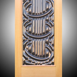 """Sculptural Glass Doors - """"Accord"""" - Sculptural Art Glass Entry Door - """"Accord"""" – A captivating art glass door that makes a bold statement as a unique exterior door. Cool glass, warm woods, made to order from Sculptural Glass Doors. Choice of glass colors and other options are available. Doors are shipped flat rate nationwide. Made with integrity in the USA."""