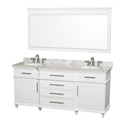 "Wyndham Collection - Wyndham Collection 72"" Berkeley White Double Vanity & Carrera Marble Top - If your bathroom's asking you for a facelift, the Berkeley is a worthy choice. At once elegant, classic and contemporary, the Berkeley vanity lends an air of sophistication and charm to any bathroom, from a Soho penthouse to a rustic country home. Carefully hand built to last for decades and finished in White or Dark Chestnut, this solid wood vanity is trimmed with brushed chrome hardware to compete the timeless look. Available in multiple sizes and finishes."