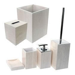 Gedy - Wooden 6 Piece White Bathroom Accessory Set - Trendy white bathroom accessory set made from wood.