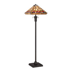 Quoizel Lighting - Quoizel Lighting TF1509FVB Tiffany Floor Lamp With 2 Lights And Pull Chain Switc - For over seventy years, Quoizel lighting has been dedicated to the design and production of its diversified line of fine lighting products and home accessories.