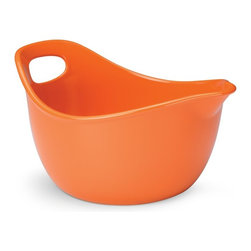 Rachael Ray - Rachael Ray Stoneware 3 qt. Mixing Bowl - Orange Multicolor - 53182 - Shop for Mixing and Food Preparation Bowls from Hayneedle.com! Add some flair to your kitchen with the Rachael Ray Stoneware 3 qt. Mixing Bowl - Orange. Made from durable stoneware this attractive orange-glazed bowl is nonporous so you don't need to worry about cross contamination. With extra-wide handles for a sure grip this fine piece is dishwasher- freezer- and oven-safe to 500 degrees F.About Rachael RayRachael Ray has built a name for herself with a popular talk show a new magazine and a cookbook that reached #1 on the New York Times best seller list. She says that cooking is a way of life and her philosophy shows in her collection of practical yet fun and unique cookware. Each piece in the collection is stamped with Rachael's signature style and the beautiful shapes and vibrant colors will make this cookware a great addition to any kitchen.