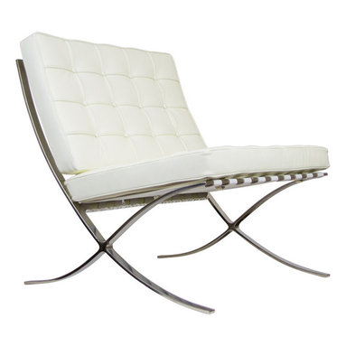 IFN Modern - Barcelona Chair Reproduction - Aniline Leather, Ivory - Our Barcelona chair reproduction was inspired by Mies Van Der Rohe's mid-century furniture. The main source of inspiration for this piece comes from the 1929 German Pavilion where Mies and Lilly Reich showcased a gorgeous chair now known worldwide as the Barcelona Chair.