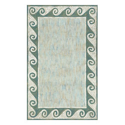 """Trans-Ocean - Mosaic Wave Border Aqu 42"""" x 66"""" Indoor/Outdoor Flatweave Rug - The highly detailed painterly effect is achieved by Liora Mannes patented Lamontage process which combines hand crafted art with cutting edge technology. These rugs are Hand Made of 100% Polyester fibers that are intricately blended together using Liora Manne's patented Lamontage process. They are then finished using modern needle punching and latexing processes that create a work of art that is practical. The flat simple nature of these Lamontage rugs is an ideal base with which to create a rug that is at the same time a work of art. Perfect for any Indoor or Outdoor space, they are antimicrobial,  UV stabilized, and easy care."""