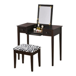 "Asia Direct - 2-Piece Espresso Finish Wood Bedroom Make Up Vanity Dressing Table - 2-piece espresso finish wood bedroom make up vanity dressing table with flip up mirror and stool with zebra print material. This set includes the vanity table with flip up mirror and fold down front panel with 2 side drawers and a zebra print fabric covered stool. Measures 36"" x 18"" x 30"" H (47"" with mirror flipped up). Stool measures 18"" x 12"" x 18"" H. Some assembly required."