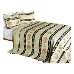 Blancho Bedding - [Mother's Castle]3PC Contained Vermicelli-Quilted Patchwork Quilt Set Full/Queen - Set includes a quilt and two quilted shams (one in twin set). Shell and fill are 100% cotton. For convenience, all bedding components are machine washable on cold in the gentle cycle and can be dried on low heat and will last you years. Intricate vermicelli quilting provides a rich surface texture. This vermicelli-quilted quilt set will refresh your bedroom decor instantly, create a cozy and inviting atmosphere and is sure to transform the look of your bedroom or guest room. Dimensions: Full/Queen quilt: 90 inches x 98 inches  Standard sham: 20 inches x 26 inches.