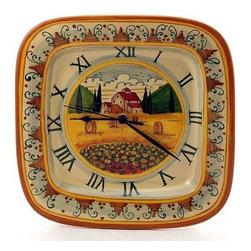 Artistica - Hand Made in Italy - Paesaggio Toscana: Square Wall Clock - Paesaggio Toscana: