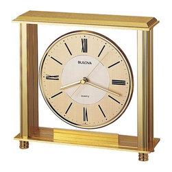 BULOVA - Bulova Grand Prix Table Clock Model B1700 - Metal case, antique brass finish.