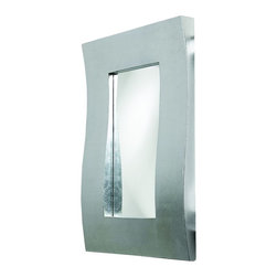 Howard Elliott - Montrose Rectangular Bright Silver Leaf Mirror - The Montrose Mirror features a wide rectangular frame designed with a Contemporary 3-D wave and finished in a bright white gold leaf.