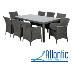 Atlantic - Grand Liberty Deluxe 9 Piece Grey Rectangular Dining Set - Dress up your outdoor living space with this rectangular nine-piece dining set. Eight chairs are included so you'll have plenty of seating during your next barbecue, The wicker has a light gray finish, and chair cushions are included for comfort.