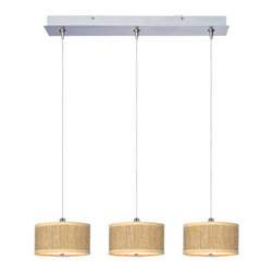 "ET2 - ET2 E95496 Elements 3 Light 5.5 Inch Drum Shade Linear Foyer Pendant - Bulbs Inc - ET2 E95496 Three Light 5.5 Inch Drum Shade Linear Foyer Pendant from the Elements Collection - Bulbs IncludedA twist on a classic design, the Elements linear three light foyer pendant features small 3.75"" tall drum shaped perforated fabric shades that will enhance the appeal of any room.ET2 E95496 Specifications:"