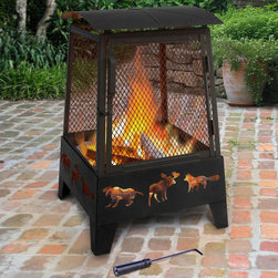 Landmann USA - Landmann Haywood Wildlife 22 x 22 in. Fire Pit - Black - 25319 - Shop for Fire Pits and Fireplaces from Hayneedle.com! Gather friends and fauna around the Landmann Haywood Wildlife Fire Pit. This 20-inch fireplace can be enjoyed from any angle accented by decorative wildlife cutouts in the base. With a protective spark screen all the way around and a large hinged access door on one side it's easy to get a fire going and to keep it safe. All-steel construction a built-in wood grate and four legs that keep the fire safely above ground add to this pit's appeal. A poker is included; just add wood and fire and sit back.