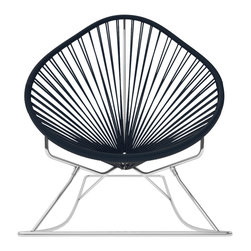 Acapulco Rocker, Chrome Frame With Black Weave - Sit back and relax in this classic woven rocking chair. The iconic pear-shaped seat is perfect for enjoying a backyard setting, but looks equally stylish inside the home. Pick from a rainbow of colors to match your personality or stay cool with classic black and you can't go wrong.
