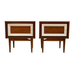 Mid-Century Modern Walnut Nightstands - A Pair - Pair of Mid-Century walnut nightstands in restored condition, with 2 deep drawers. From the tapered legs to the white rectangular detail, this pair has it going on!