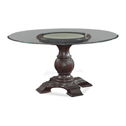 Bassett Mirror - 60 in. Round Dining Table - 0.5 in. glass thickness. Eurogee edge and clear top. Table top: 60 in. Dia.. Base: 30 in. Dia. x 29.5 in. H