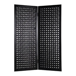 BELLAMY SCREEN - The Bellamy is a classic 2 panel design.  Each panel is interwoven with black leather resulting in a clean and smart design.  This handmade screen is finished on both sides.