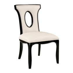 Sterling Industries - Sterling Industries 6070922 Alexis Side Chair - A Companion To The Successful Alexis Arm Chair. Solid Wooden Frame Is Finished In Ebony. The Upholstering Is Almond Colored Bonded Leather.  Side Chair (1)