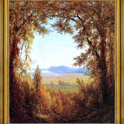 "Sanford Robinson Gifford-16""x20"" Framed Canvas - 16"" x 20"" Sanford Robinson Gifford Hook Mountain on the Hudson River framed premium canvas print reproduced to meet museum quality standards. Our museum quality canvas prints are produced using high-precision print technology for a more accurate reproduction printed on high quality canvas with fade-resistant, archival inks. Our progressive business model allows us to offer works of art to you at the best wholesale pricing, significantly less than art gallery prices, affordable to all. This artwork is hand stretched onto wooden stretcher bars, then mounted into our 3"" wide gold finish frame with black panel by one of our expert framers. Our framed canvas print comes with hardware, ready to hang on your wall.  We present a comprehensive collection of exceptional canvas art reproductions by Sanford Robinson Gifford."